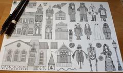 halloween WIP (Scrummy Things) Tags: sharonturner halloween illustration drawing pattern scarecrow ghost vampirebats architecture buildings church spooky wip workinprogress paper pen surfacedesign
