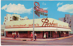 Parhams Restaurant - (circa. 1950s) (Brett Streutker) Tags: restaurant cafe diner eatery food hamburger cheeseburger eat fast macdonalds burger vintage colonel sanders kentucky fried chicken big mac boy french fries pizza ice cream server tip money cash out dining cafeteria court table coffee tea serving steak shake malt pork fresh served desert pie cake spoon fork plate cup drive through car stand hot dog mustard ketchup mayo bun bread counter soda jerk owner dine carry deliver parhams circa 1950s