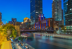 Chicago Blues (tquist24) Tags: chicago chicagoriver chicagoriverwalk clarkstreetbridge illinois nikon nikond5300 outdoor people bluehour bridge city color colorful downtown evening geotagged lights longexposure reflection reflections river sky skyscrapers water cityscape