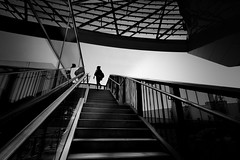 upstairs (heinzkren) Tags: austria wien vienna stiege stufe street streetphotography silhouette lady frau geländer architektur architecture schwarzweis blackandwhite railing rail handrail stairway stairs treppe staircase people personen panasonic lumix spiegelung reflection outdoor linien lines access zugang candid