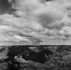 Grand Canyon, AZ (Jessica Sandoval-Orzel) Tags: shadow clouds arizona blackandwhite film grandcanyon lubitel