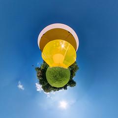 Skulpturenpark Köln (HamburgerJung) Tags: skulpturenparkköln köln cologne germany deutschland panasonicgm5 hugin art kunst skulptur gelb sommer stereographic planet littleplanet