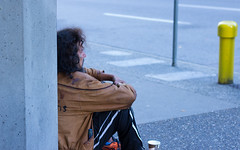 Panhandler near Harbour Centre (Vancouver) (Earker) Tags: homeless streetphotography canonrebelt3i canont3i canon vancouver panhandling vancouverbc waterfront vancouvercanada