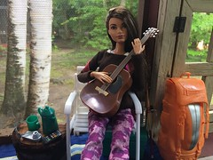 End of vacation blues (Foxy Belle) Tags: doll barbie camp camping guitar cabin vacation play instrument porch