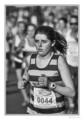 Follow Me (Seven_Wishes) Tags: newcastleupontyne scotswoodroad canoneos5dmarkiv canonef100400mmf4556lisii photoborder jo outdoor blaydonrace blaydonrace2017 roadrace people streetphotography candid portrait athlete athletic sporting woman femaleathlete runner running bw blackandwhite mono monochrome dof depthoffield