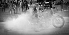 Rat Bike Burnout (Tim @ Photovisions) Tags: monochrome blackandwhite honda motorcycle bike burnout ratbike