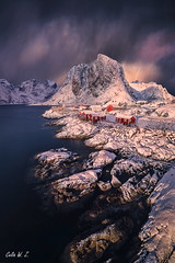 Hamnoy, Lofoten Norway (Celia W Zhen) Tags: red lofoten norway lofotenislands mountain sea sunset sky clould celiawzhen celiawzhenphotograph landscape winter snow travel hamnoy