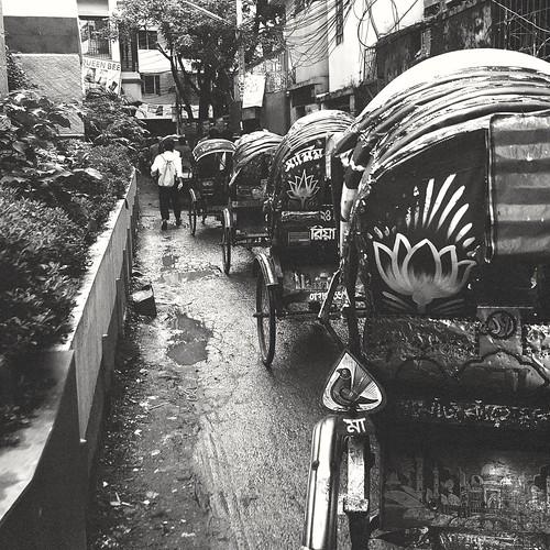 Alley. Rickshaw. Dhaka. Bangladesh.