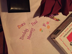 """Daddy, Mommy, Dani, and Paul's Names on the Table at Traverso's • <a style=""""font-size:0.8em;"""" href=""""http://www.flickr.com/photos/109120354@N07/36047391514/"""" target=""""_blank"""">View on Flickr</a>"""