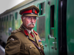 The Old Para (Silver Machine) Tags: warontheline watercressline ropley hampshire midhantsrailway railwaystation railwayplatform portrait soldier parachuteregiment moustache uniform man standing wwii secondworldwar festival 40s 1940s vintage fujifilm fujifilmxt10 canonfd85mmf18 candid