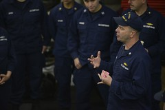 Cutter Healy crew prepares to get underway (Coast Guard News) Tags: healy icebreaker underway muster allhands xo executiveofficer hangar meeting talk motivate crew alaska unitedstates us