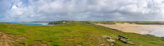 Pentire Headland looking back towards Newquay and Crantock beach