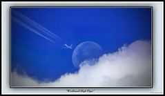 """Westbound High Flyer"" (The Jacobite) Tags: jet clouds moon jetstream blue high trail vapour transatlantic flight flying distance tamron600mm"