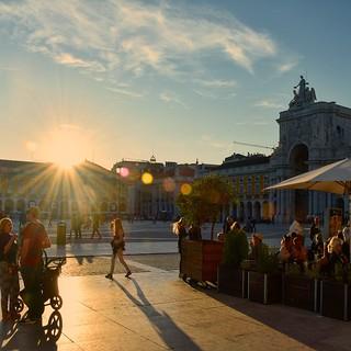 Sunset in the Praça Do Comércio
