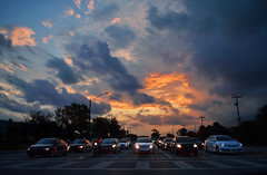 Road Sunset (BMADHudson) Tags: road car southflorida silhouette sky sunset sun florida floridaphotography floridasunset intersection broward deerfield middle power lines fire headlights moody cloudy light red yellow blue dark outside nature city
