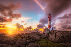 Giving light to the lighthouse (BjørnP) Tags: lighthouse seascape landscape sunset light evening colors clouds eigerøy fyr eigerøyfyr egersund norway water sea ocean sony explore