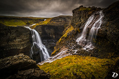 Granny waterfall © Damien Deschamps (deschdam6@gmail.com) Tags: waterfall iceland travel hiking hike nature grass canyon yellow photography longexposure landscape remote area clouds