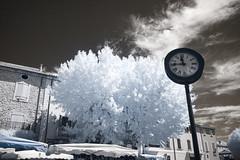 Pastis Time (Lolo_) Tags: infrared clock village france provence horloge tulette drôme ir infrarouge marché market provençal parasols bourg 1145 apéro pastis time clouds nuages