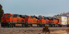 The Orange Rolls Onward! (Woodypug) Tags: bnsf atsf flagstaff arizona freight trains transcon westbound seligmansub landscape locomotive