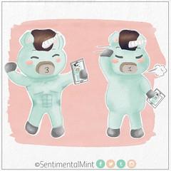 Selfie engañosa (SentimentalMint) Tags: unicornio verde menta cute dibujo engaño fitness gordo ilustracion meter panza musculoso selfie unicorn