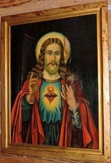 Christ with a bleeding, burning, thorn-encircled heart