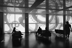 waiting in the OctoLobby (KevinIrvineChi) Tags: mca museumofcontemporaryartchicago mcachicago takashi murakami octopus eats its own leg black blackwhite blackandwhite blanc noir reflection sunny shades people peoplewatching lobby chairs sitting walking woman men shiny bw et monochrome streeterville chicago chicagoist consumerist art artist installation advertisement silhouette silhouettes indoors 4th floor museum artworks illinois august summer 2017 sony dscrx100