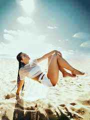 Sky fall (p_terencia) Tags: gorgeous beautifulcolorpalette colors art conceptual portrait portraits bluesky fallen falling gravity magical beauty beautiful sunrise seashore levitate levitation skyfall blue sky