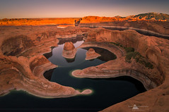 Reflection Canyon, Lake Powell, Utah (www.fourcorners.photography) Tags: glencanyon gopro reflectioncanyon utah lakepowell glencanyonnationalrecreationarea sunrise glow orange sandstone meandering aerialphotography peterboehringerphotography fourcornersphotography