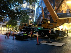 Crane setup on a steep grade: Columbia Street. (Seattle Department of Transportation) Tags: seattle sdot transportation donghochang crane setup steep grade columbia street construction whoa