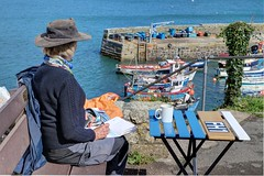 Artist and Subject (Raphooey) Tags: gb uk england south west southwest cornwall trhe lizard peninsula meneage sea seaside seashore shore shoreline beach water wave waves canon eos 80d st keverne coverack village boat boats harbour haven fish fishing fishermen art artyist paint painting watercolour