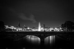 Lombardsbrücke (PhotoChampions) Tags: alster germany deutschland hamburg city cityscape urban nightshot night longexposure bnw blackandwhite sw schwarzweiss
