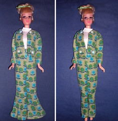 To flare or not to flare.... What do you think? (skipscales) Tags: handmade ooak needlecord corduroy retro pantssuit flares jacket green blue francie