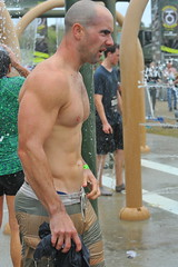 Showered Clean (Chris Hunkeler) Tags: bib3549 marinecorpsmudrun male man shirtless shower showman chest bare pecs pectoral tricep