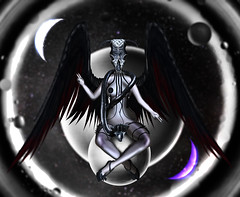As above, so below . (Venus Germanotta) Tags: secondlife fashion model fierce baphomet space heaven hell earth demon angels wings evil good balance moon luna witchcraft blackmagic magic occult azoury coven halloween planets snake pasteis black gray lace sphere depth shadow value contrast ying yang devil god leather stars astrology fiction bibile biblical ominous monster creepy creature hybrid mask event blog blogger blogging blogpost graphicdesign design photoshop photography lighting perspective fantasy fantasea scifi bizarre odd white phedora astralia moonelixir