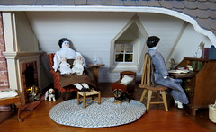 5. In the Bronte sitting room (Foxy Belle) Tags: dollhouse china porcelain 1800s parlor living room sitting 112 colonial attic simplicity real good toys dogs fireplace brick hearth head shoulder plate antique