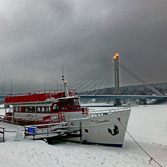 Lumikki, Rovaniemi,  Finland (pom.angers) Tags: panasonicdmctz30 february 2014 rovaniemi finland suomi lapland lappi europeanunion boat ship lumikki 100 150 200 300 river kemijoki arcticcircle