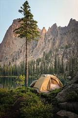 Home (No Stone Unturned Photography) Tags: sawtooths camp tent sunrise sawtoothwilderness saddleback lake