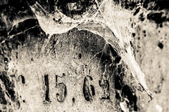 (C-47 [Offline]) Tags: stone stonework digits art artistic artistique spiderweb mysterious mystery mystic mono monochrome canon100mml28 7dmarkii flickr feel fun feelings sad sadness cemetery composition wonderful white blackwhite blackandwhite noiretblanc architecture architectural