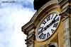 Turm mit Uhr 2 (Photography by FN) Tags: ungarn uhr zeit turm gelb weis blau wolken römische ziffern gelblich schick reisen