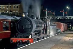 North Eastern Night time freight (Nigel Valentine) Tags: p3 2392 north yorkshire moors railway steam night signal gantry slide scanned fuji 64t