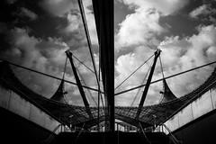 reflection Olympiapark München (Günther Bayerle) Tags: blackandwhite reflektion spiegelung himmel sky münchen olympiapark