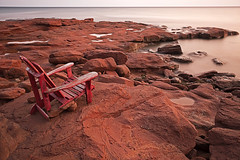 The red chair (Timothy Neesam (GumshoePhotos)) Tags: pei princeedwardisland red clay chair adironka adirondak muskoka landscape gulf st lawrence fuji fujifilm xt2