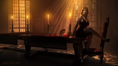 Table for one (Mark Frost :)) Tags: table candle candles light dark shadow lightrays godrays girl woman female dress cat baroque moody atmospheric atmosphere dining room cg cgi render daz studio 3d