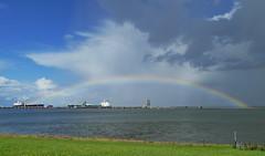 Regenbogen über der Jade (antje whv) Tags: regenbogen rainbow jade nordsee northsea schiffe ships tanker ölhafen anleger grass wasser water meer sea gras hime himmel sky bucht bay
