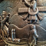 Closeups of Ceremonial Silver Bowl depicting Persian victories with Zoroastrian themes from Burma 1875-1900 CE thumbnail
