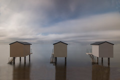 Beach Huts (1 of 4) (selvagedavid38) Tags: beach hut sea water sky ocean shore relax neutal density filter tranquil time tide coast view reflection