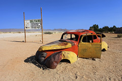 Namibia, abandoned car in Solitaire (Saleha Ullah) Tags: namibia solitaire car rusty desert classic