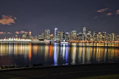 Gusto (El Justy) Tags: vancouverbc britishcolumbia canada skyscrapers night longexposure light lights shadows stanleypark travel vacation clouds sky boats burrardinlet canadaplace water skyline reflections cityscape shine glare photography justinrice