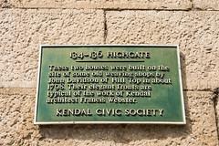 Kendal - 134-136 Highgate Green Plaque (Le Monde1) Tags: kendal lemonde1 cumbria nikon d800e england county town southlakeland district lake uk 134136highgate green plaque