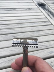 Gillette New long comb safety razor with tabbed pins. Made in England. 1940s